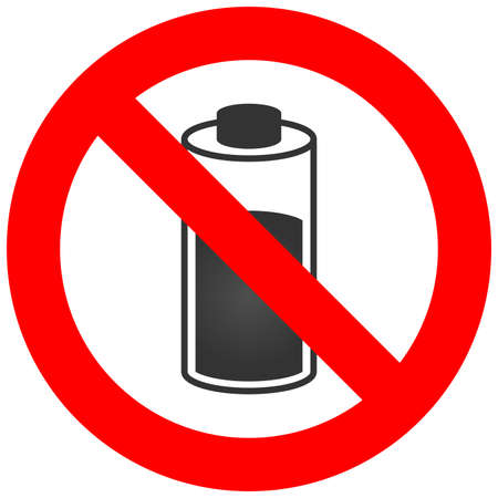 Forbidden sign with battery icon isolated on white background. Battery is prohibited vector illustration. Using battery is not allowed image. Batteries are banned.