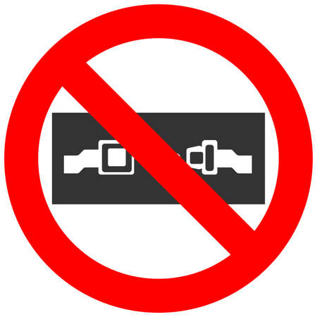 Forbidden sign with safety belt icon isolated on white background. Seat belt is prohibited vector illustration. Using safety belt is not allowed image. Safety belts are banned. Do not use the belt.