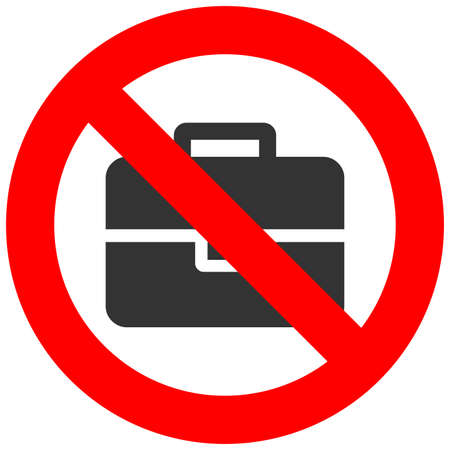 gun control: Stop or ban sign with baggage icon isolated on white background. Hand baggage is prohibited vector illustration. Luggage is not allowed image. Carryon is banned. Illustration