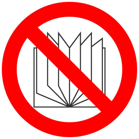 marca libros: Forbidden sign with book icon isolated on white background. Reading is prohibited vector illustration. Reading is not allowed image. Books are banned.