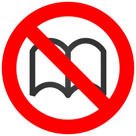 Forbidden sign with book icon isolated on white background. Reading is prohibited vector illustration. Reading is not allowed image. Books are banned.