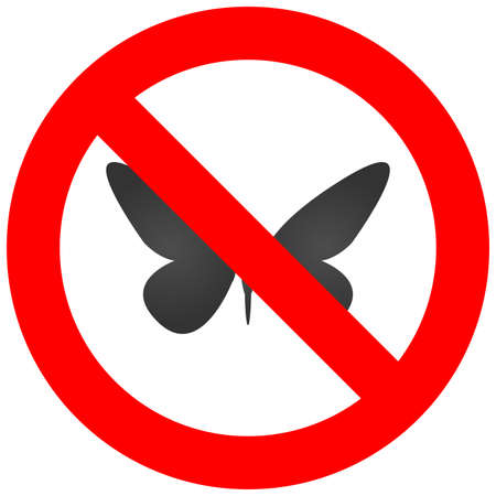 buttefly: Stop or ban sign with buttefly icon isolated on white background. Butterfly is prohibited vector illustration. Moth is not allowed image. Insects are banned. Illustration