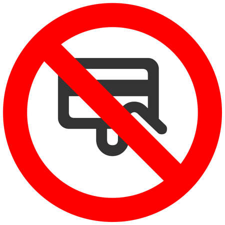 Prohibition sign with credit card icon isolated on white background. Payment is forbidden vector illustration. Electronic money not allowed image. Cards are banned. Illustration