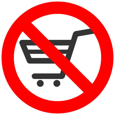 Prohibition sign with cart icon isolated on white background. Shopping is forbidden vector illustration. Shopping is not allowed image. Carts are banned.