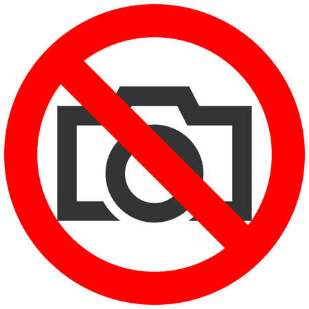 Forbidden sign with camera icon isolated on white background. Using camera is prohibited vector illustration. Survey is not allowed image. Cameras are banned. Illustration