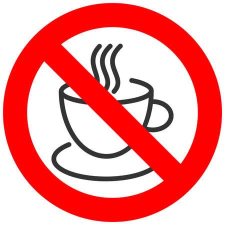 コーヒーや紅茶のカップ アイコンが白い背景で隔離の記号を禁止されています。コーヒーを飲んでは、禁止されているベクトル図です。コーヒーや