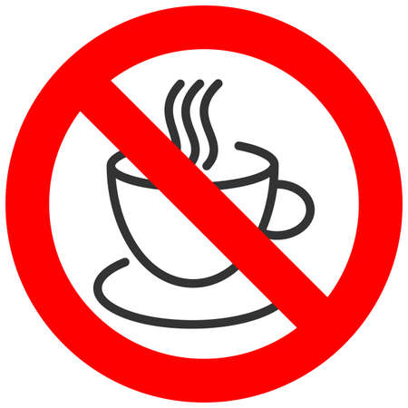 Forbidden sign with coffee or tea cup icon isolated on white background. Drinking coffee is prohibited vector illustration. Coffee and tea is not allowed image. Hot drinks are banned.