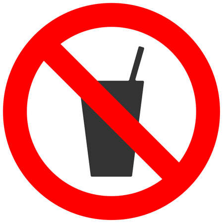 Forbidden sign with soft drink icon isolated on white background. Drink is prohibited vector illustration. Beverage is not allowed image. Fresh beverages are banned. Illustration