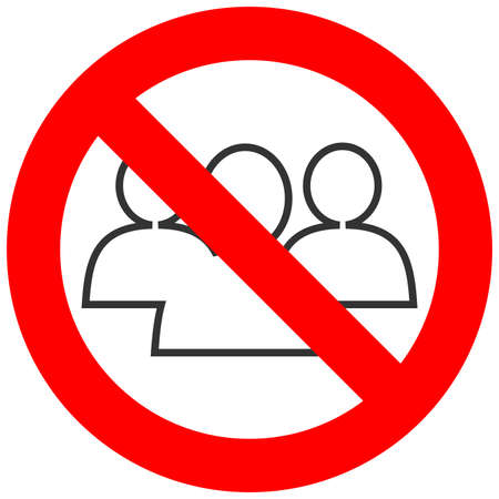 Forbidden sign with three silhouettes icon isolated on white background. Community is prohibited vector illustration. Friendship is not allowed image. Communitites are banned.