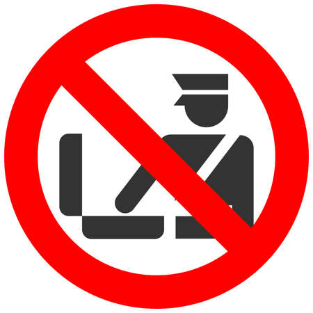 Forbidden sign with customs officer isolated on white background. Baggage control is prohibited vector illustration. Control is not allowed image. Officers are banned.