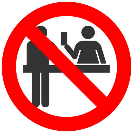 gun control: Forbidden sign with customs officer isolated on white background. Passport control is prohibited vector illustration. Control is not allowed image. Officers are banned.