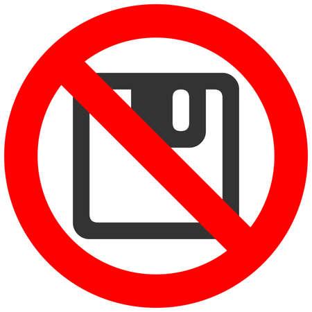 Signe interdit avec l'icône de la disquette isolé sur fond blanc. La disquette est une illustration vectorielle interdite. L'enregistrement n'est pas autorisé image. Les produits de disquettes sont interdits.