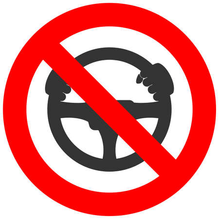 Forbidden sign with steering wheel icon isolated on white background. Steering is prohibited vector illustration. Driving is not allowed image. Steering wheels are banned.