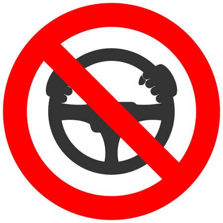 signe interdit avec l'icône de volant isolé sur fond blanc. Direction est interdite illustration vectorielle. La conduite est interdite image. Volants sont interdits. Vecteurs
