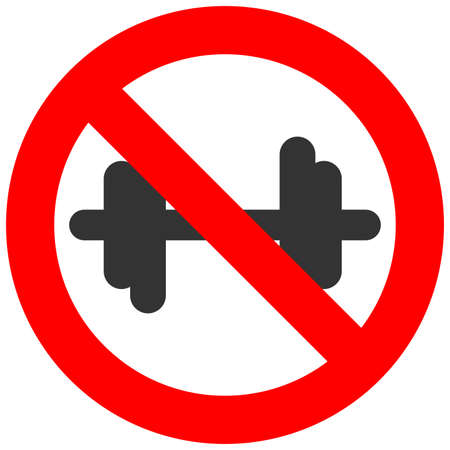 Forbidden sign with dumbbell icon isolated on white background. Bodybuilding is prohibited vector illustration. Fitness is not allowed image. Dumbbels are banned.