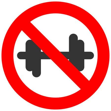 Signo prohibido con icono de pesas aislado sobre fondo blanco. Culturismo está prohibido ilustración vectorial. No se permite la imagen de fitness. Dumbbels están prohibidos. Vectores