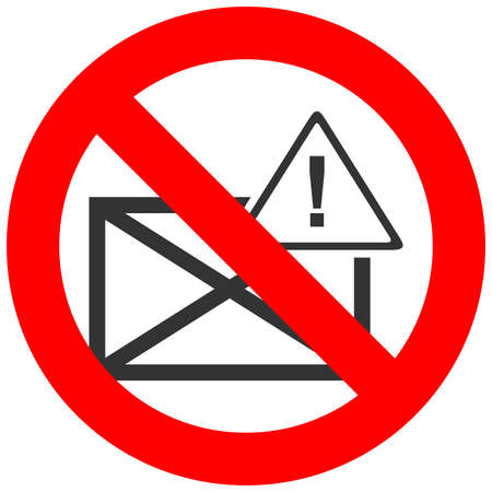 Forbidden sign with envelope and exclamation mark icon isolated on white background. Mail is prohibited vector illustration. Email is not allowed image. E-mail is banned. Ilustração