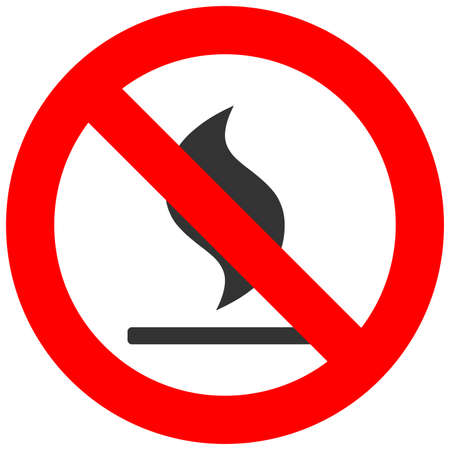 Forbidden sign with bonfire icon isolated on white background. Fire is prohibited vector illustration. Open fire is not allowed image. Bonfires are banned. Do not fire. Illustration