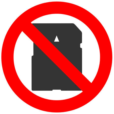 Prohibition sign with memory card icon isolated on white background. Memory card is forbidden vector illustration. Using memory card is not allowed image. Memory cards are banned. Illustration