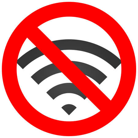 jamming: Forbidden sign with wi-fi antenna icon isolated on white background. Using wifi is prohibited vector illustration. WiFi is not allowed image. Wi-fi are banned. Illustration