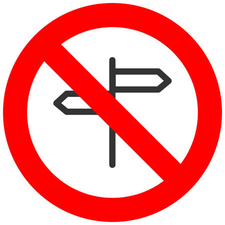 Forbidden sign with opposite directional arrows icon isolated on white background. Dirrection is prohibited vector illustration. Direction index is not allowed image. Any directions are banned. Illustration