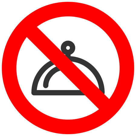 Forbidden sign with dish icon isolated on white background. Dish is prohibited vector illustration. Dish is not allowed image. Dishes are banned.