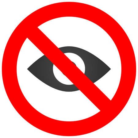 Forbidden sign with eye icon isolated on white background. Eye is prohibited vector illustration. Eye is not allowed image. Eyes are banned.