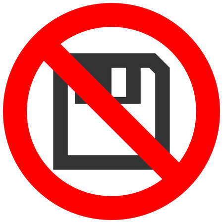 Forbidden sign with floppy icon isolated on white background. Diskette is prohibited vector illustration. Saving is not allowed image. Floppy discs products are banned. Illustration