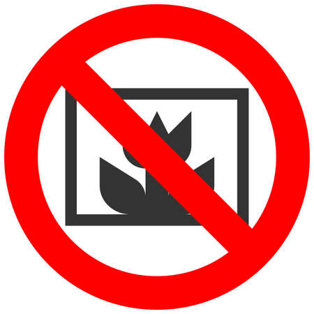 Forbidden sign with abstract flower icon isolated on white background. Using flower is prohibited vector illustration. Flower is not allowed vector illustration. Flowers are banned.