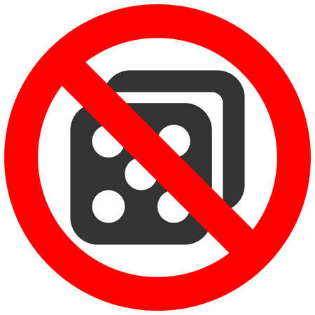 Forbidden sign with dice icon isolated on white background. Gambling is prohibited vector illustration. Casino is not allowed vector illustration. Gambling is banned.