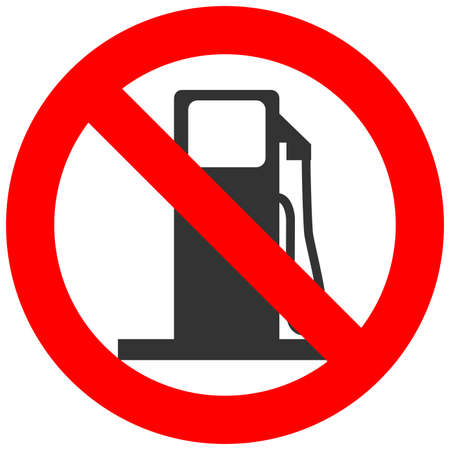 fossil fuels: Forbidden sign with abstract gas station icon isolated on white background. Gas station is prohibited vector illustration. Gas station is not allowed vector illustration. Fossil fuels are banned.