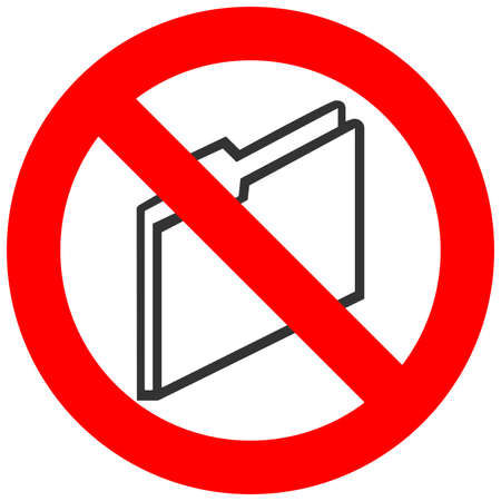 Forbidden sign with abstract folder icon isolated on white background. Using folder is prohibited vector illustration. Folder is not allowed vector illustration. Folders are banned.
