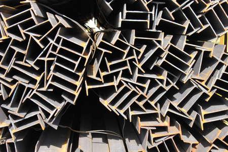 Steel beam. Metal I-beam. Stuck of girders. Steel joist.
