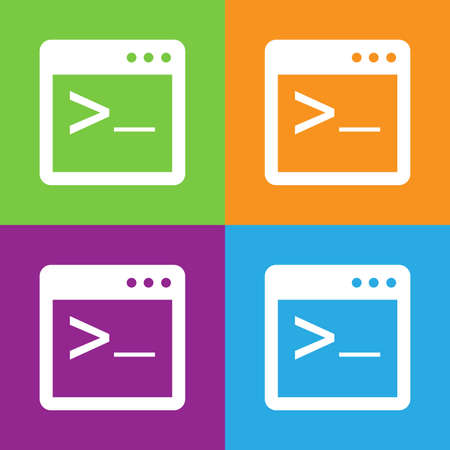 java script: Coding cterminalicon. Simple logo of coding console terminal on white background. Flat vector illustration.