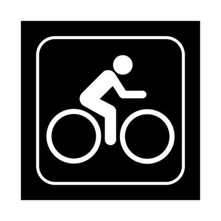 bicycling: Bicycling icon. Flat vector illustration isolated on black background.