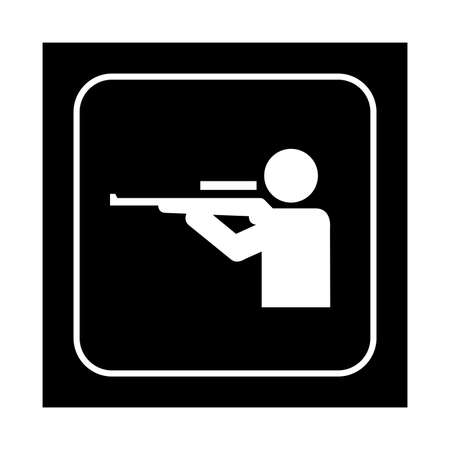 sniper training: Shooting range icon. Flat vector illustration isolated on black background.