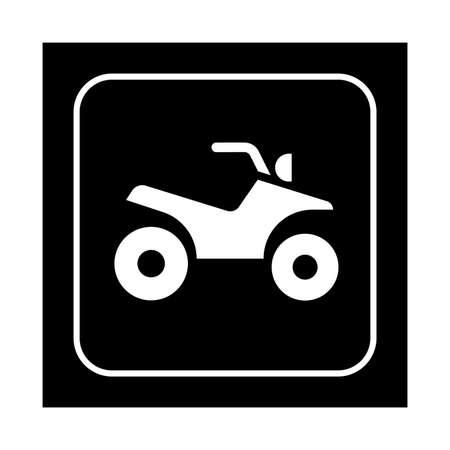 quad: ATV riding icon. Flat vector quad biking illustration isolated on black background.
