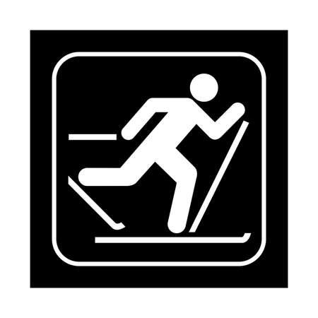 ski pass: Skiing icon. Flat vector illustration isolated on black background. Illustration