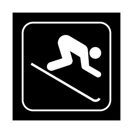 mountain pass: Skiing down icon. Flat vector illustration isolated on black background.