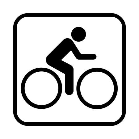 bicycling: Bicycling icon. Flat vector illustration isolated on white background. Illustration