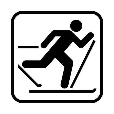 ski pass: Skiing icon. Flat vector illustration isolated on white background.