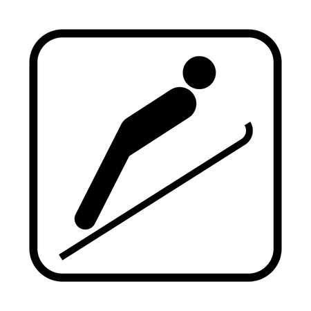 thrill: Ski jumping icon. Flat vector illustration isolated on white background.