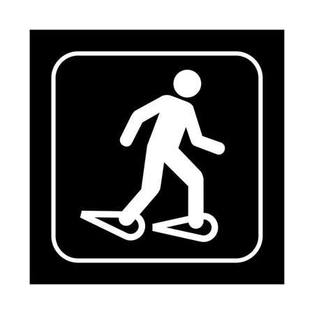 ice climbing: Snowshoeing icon. Flat vector illustration isolated on black background.