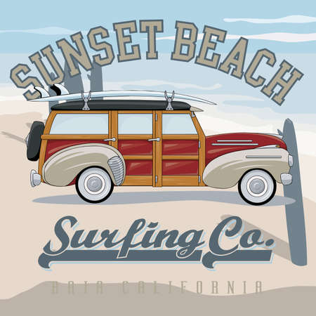 malibu: Retro surfer print for apparel. Vintage car for surfers and hipsters. Summer beach holidays vector illustration. Illustration