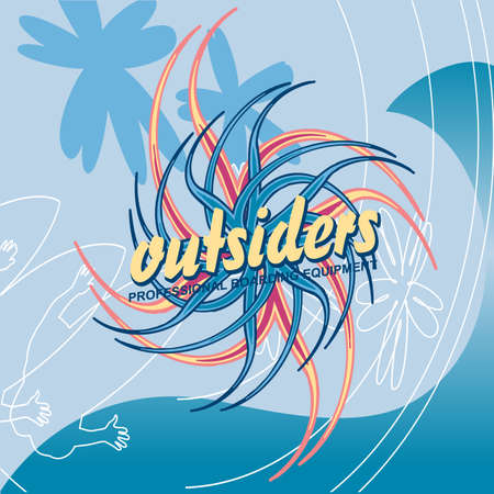 outsiders: Outsiders surfing club vintage label with waves. Good for t-shirt print, banner, , label or badge. Surf vintage vector with sea background.
