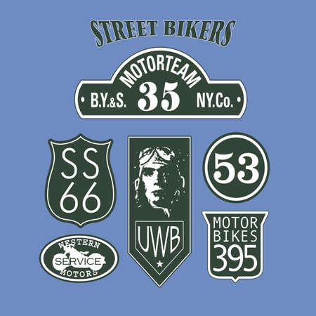 motorsport: Set of motorbike or racing club emblems. Vintage motorsport emblem graphic badges. Vintage route label collection. Vector illustration.