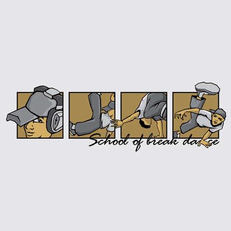 Break dance team emblem with inspirational lettering. Motivational graffiti. Typographic dance design for dancing school. Good for t-shirt print, banner, logo or label.
