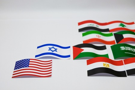 Multi color flags of Israel and Palestine on white background which it are supported by United state and Arab country group such as Iran Kuwait . Banco de Imagens