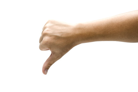 Dislike sign of gesture hand and giving thumb down. Isolated on white background