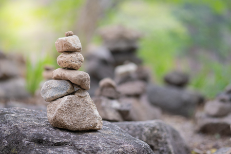 Closeup of balancing rock stack pyramid for mediation and harmony concept. Zen-like image. 写真素材